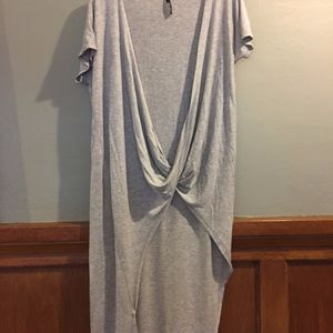 Lulu's Open Front Asymmetric Heather Gray Dress